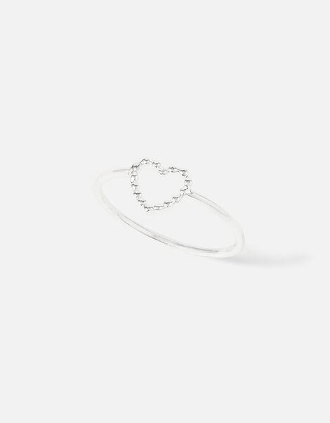 Sterling Silver Heart Ring  Silver, Silver (ST SILVER), large