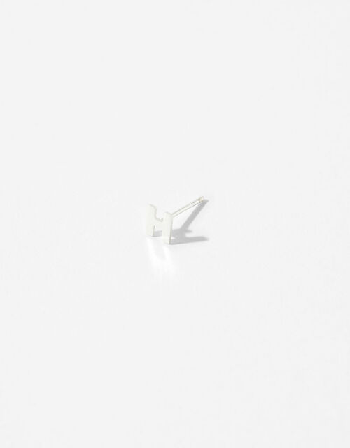 Sterling Silver Initial Stud Earrings - H, , large