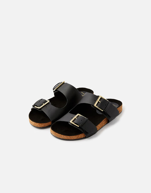 Buckle Footbed Leather Sandals , Black (BLACK), large