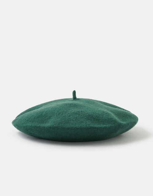 Beret Hat in Pure Wool, Green (GREEN), large