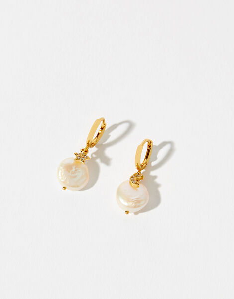Gold-Plated Freshwater Pearl Celestial Earrings, , large