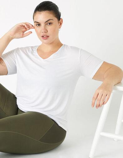 Plain V-Neck T-Shirt White, White (WHITE), large