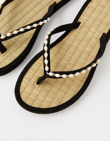 Pearl Beaded Seagrass Flip Flops  Black, Black (BLACK), large