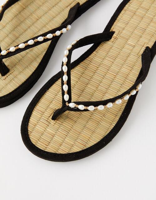 Pearl Beaded Seagrass Flip Flops , Black (BLACK), large
