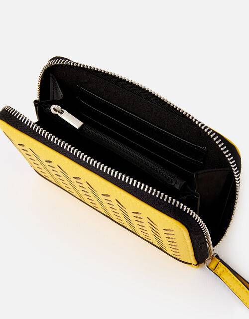 Cut-Out Pattern Zip Wallet, Yellow (YELLOW), large