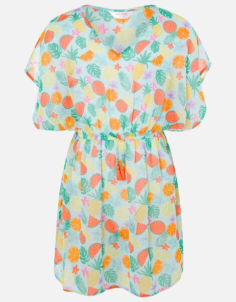 Girls Fruit Print Kaftan Dress Multi, Multi (BRIGHTS-MULTI), large