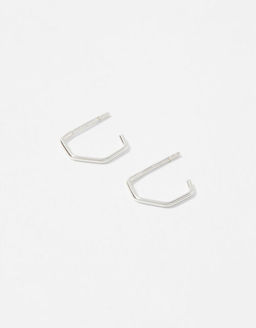 Sterling Silver Hexagon Mini Hoops, , large