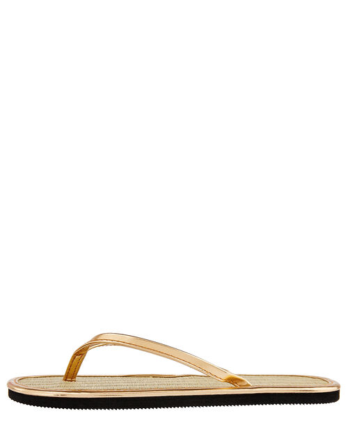 Plain Seagrass Flip Flops, Gold (GOLD), large