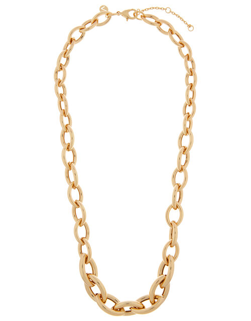 Gold-Plated Chunky Oval Link Chain Necklace, , large