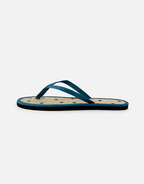 Spot Seagrass Flip Flops  Blue, Blue (NAVY), large