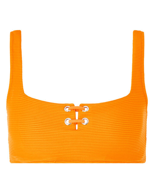 Eyelet Detail Ribbed Crop Top, Orange (ORANGE), large