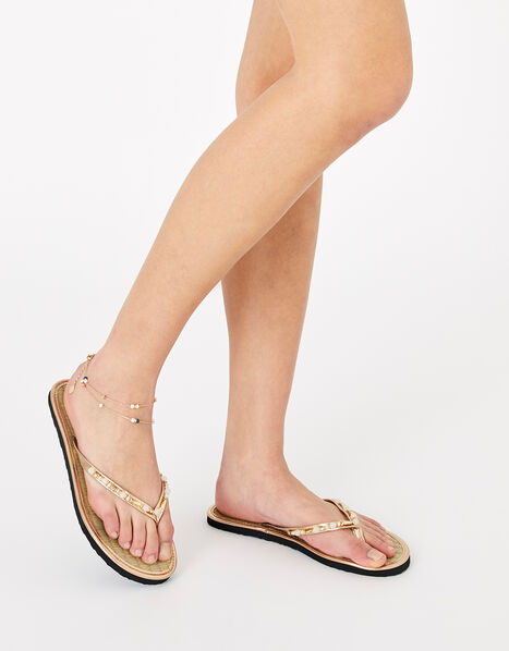 Beaded Seagrass Flip Flops Gold, Gold (GOLD), large