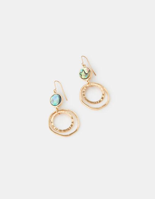 Abalone Circle Drop Earrings, , large