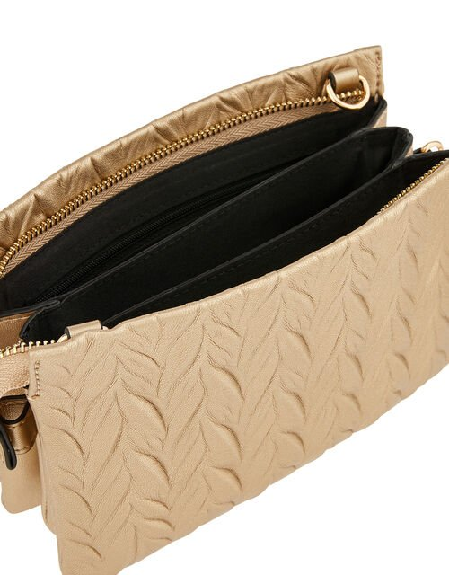 Paige Pleated Cross-Body Bag, Metalic (METALLICS), large