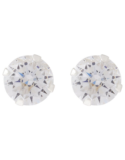 Sterling Silver Medium Crystal Stud Earrings, , large