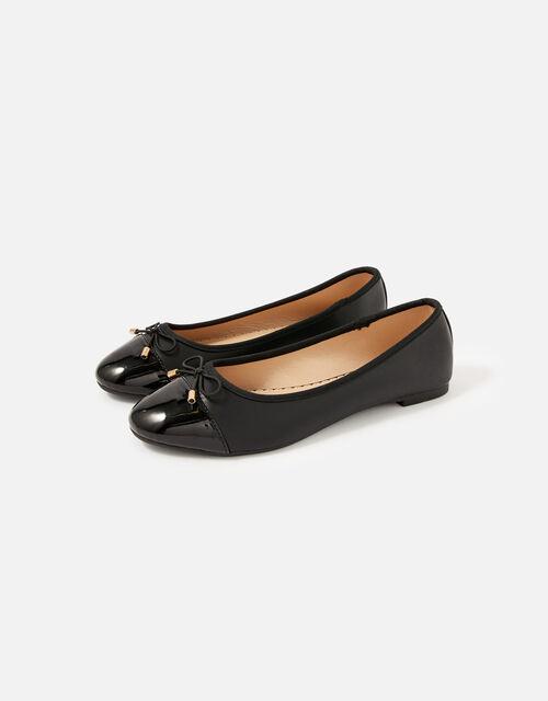Patent Toe Ballerina Flats, Black (BLACK), large