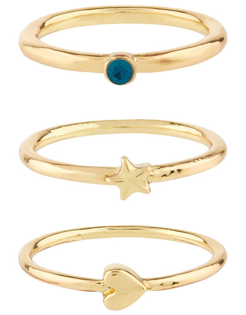 Star and Heart Ring Stacking Set, Gold (GOLD), large
