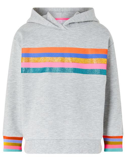 Glittery Rainbow Striped Hoodie, Grey (GREY), large