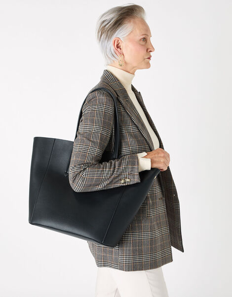 Kayla Curve Tote Bag Black, Black (BLACK), large