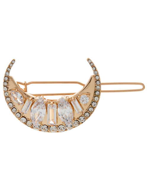 Crystal Crescent Hair Clip, , large