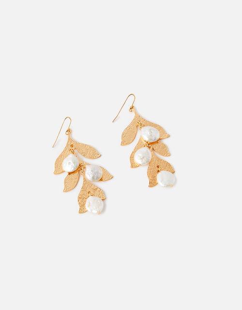 Pearly Leaf Drop Earrings, , large