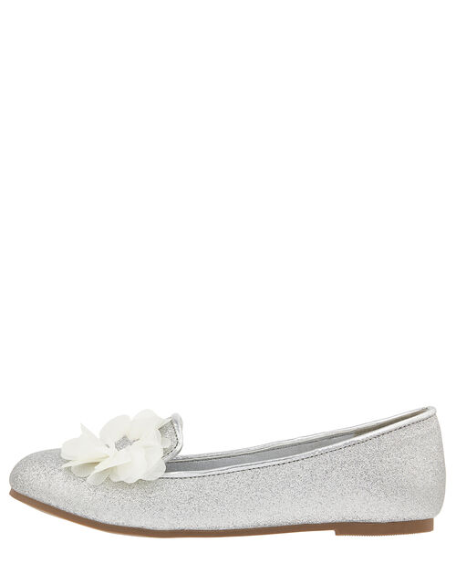 Glitter Slipper Shoe with Corsage, Silver (SILVER), large