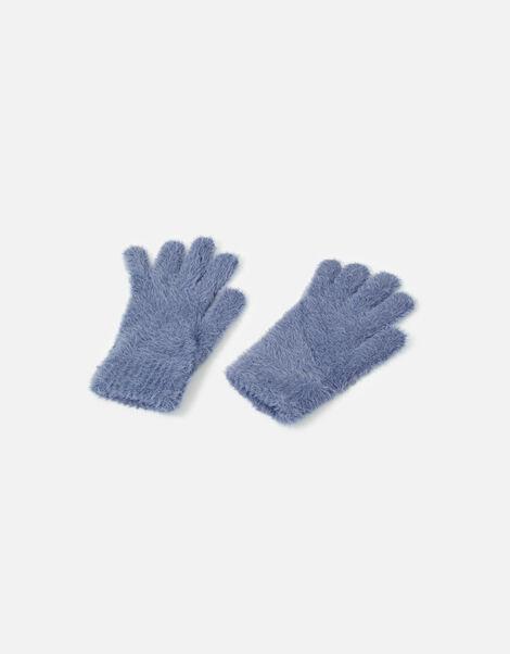 Super-Stretch Fluffy Knit Gloves Blue, Blue (BLUE), large