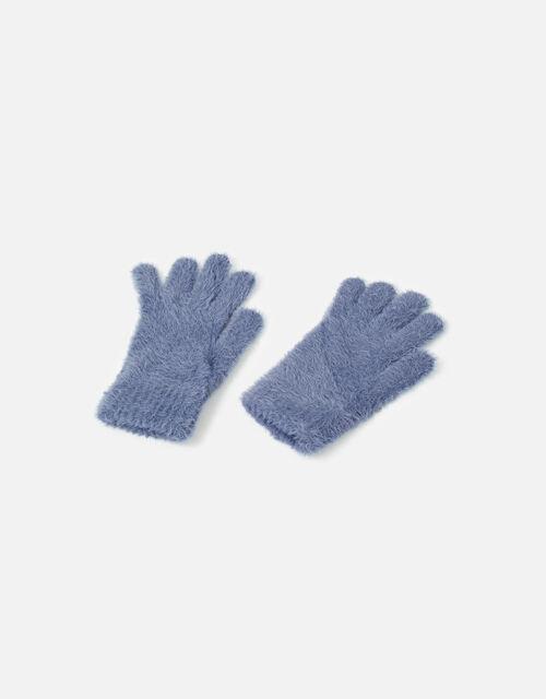 Super-Stretch Fluffy Knit Gloves, Blue (BLUE), large