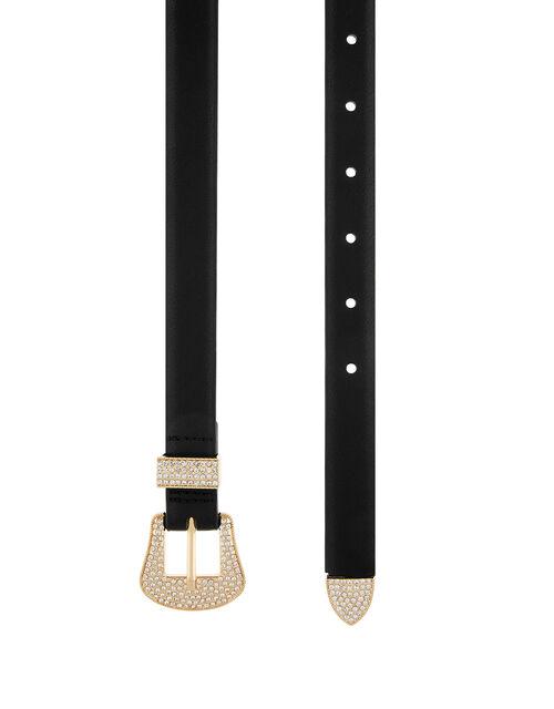 Diamante Western Buckle Belt, Black (BLACK), large