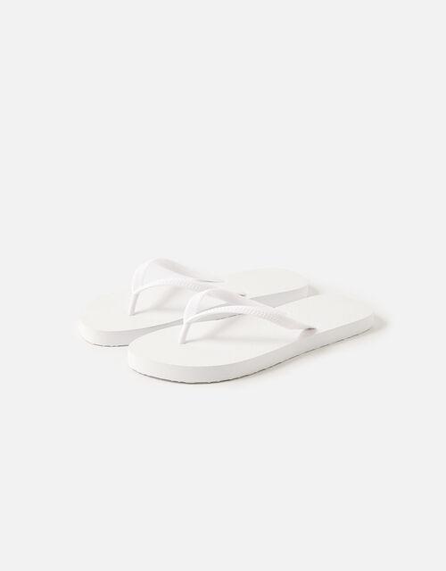 Plain Flip Flops, White (WHITE), large