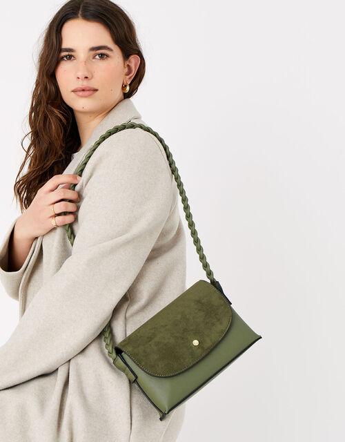 Pia Plaited Shoulder Bag , Green (KHAKI), large