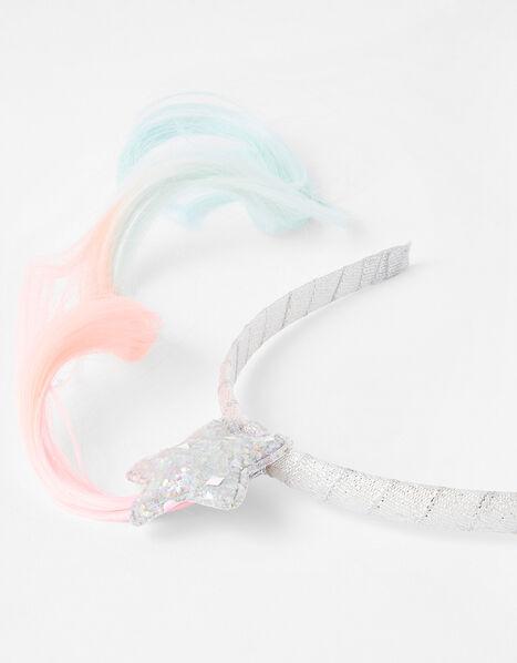 Rainbow Pigtail Faux Hair Headband, , large