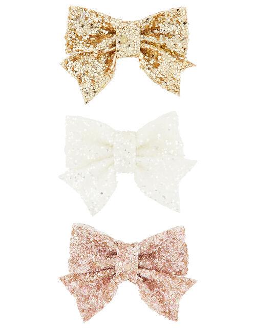 Glitter Bow Hair Clip Set, , large