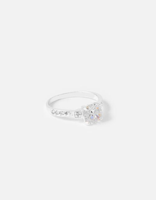 Amanda Sterling Silver Crystal Engagement Ring, White (ST CRYSTAL), large