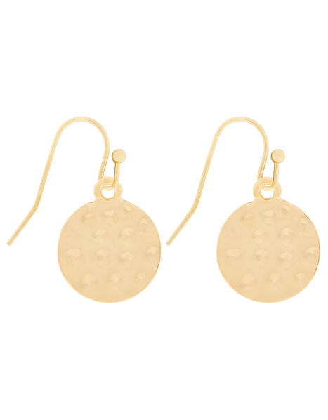 Hammered Disc Short Drop Earrings, , large