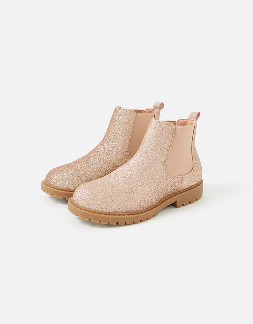 Girls Glitter Chelsea Boots , Pink (PINK), large