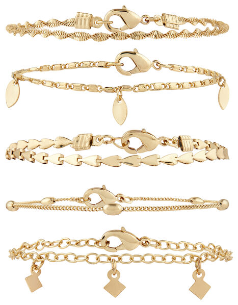 5x Delicate Chain Bracelet Pack Gold, Gold (GOLD), large