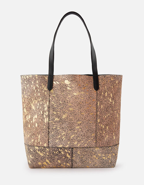 Animal Foil Print Leather Shopper Bag, , large