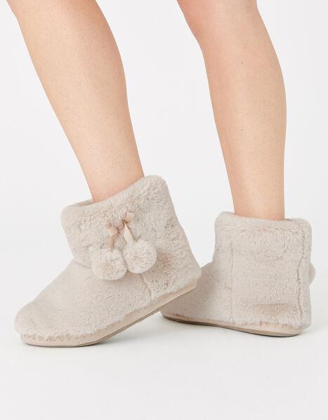 Fluffy Pom-Pom Slipper Boots Cream, Cream (CREAM), large