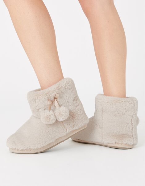 Fluffy Pom-Pom Slipper Boots Cream, Cream (CREAM), large