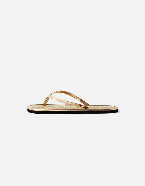 Plain Seagrass Flip Flops , Gold (GOLD), large