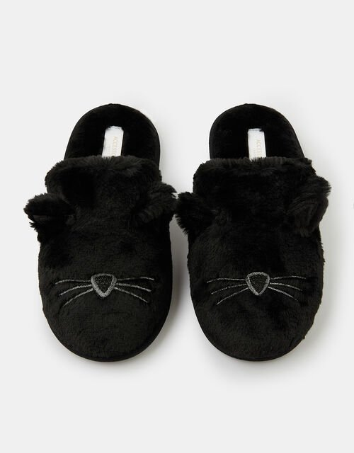 Fluffy Cat Mule Slippers, Black (BLACK), large