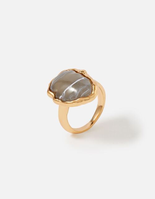 Country Retreat Encased Stone Ring, Grey (GREY), large
