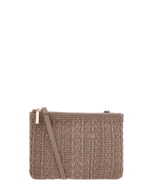 Kristina Woven Leather Cross-Body Bag, Mink (MINK), large