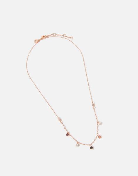 Rose Gold-Plated Gem Drop Necklace, , large