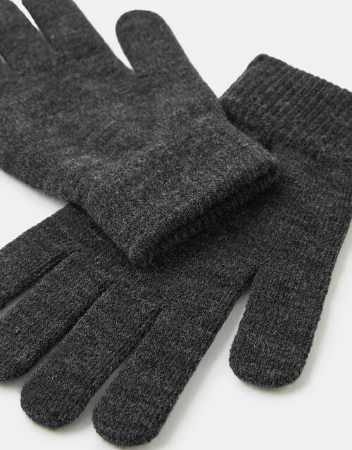 Super-Stretch Knit Gloves, Grey (GREY), large