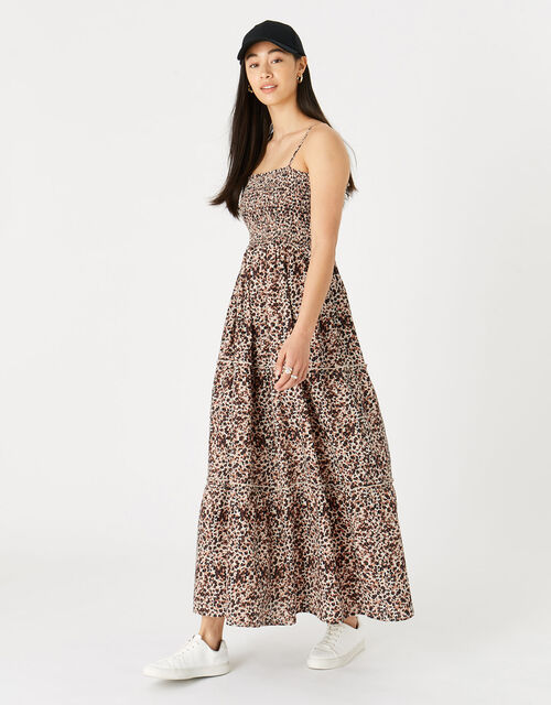 Leopard Bandeau Maxi Dress , Brown (BROWN), large