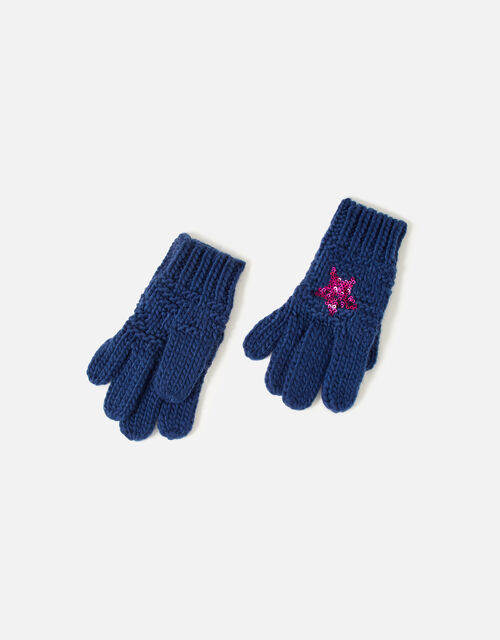 Girls Star Gloves , Blue (NAVY), large
