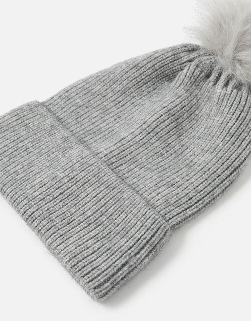 Knit Pom-Pom Beanie with Recycled Fabric, Grey (LIGHT GREY), large