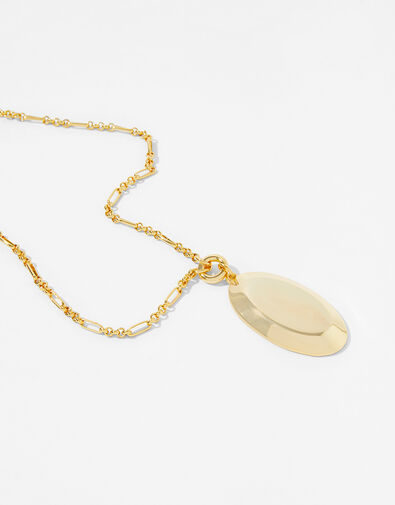 Gold-Plated Oval Pendant Necklace, , large